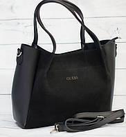 Женская замшевая сумка Guess (Гесс), черная ( код: IBG162B1 )