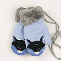 Детские теплые варежки с меховой подкладкой на 2-3 года - 19-7-59 - Голубой, фото 1