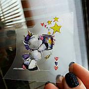 Термо наклейка, трансфер, наклейка на одежду Единорог Звезды 6х4,5 см