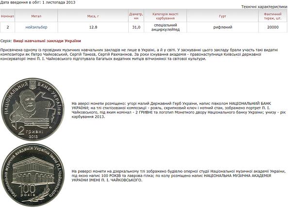 100 років Національній музичній академії України імені П. І. Чайковського монета 2 гривні, фото 2