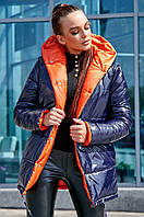 Женская куртка демисезонная, р. от 42 до 48, синий с терракотовым, двухсторонняя, с капюшоном