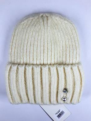 Женская шапка с отворотом Flirt Персия One Size молоко, фото 2