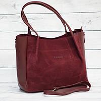 Женская замшевая сумка Guess (Гесс), бордовая ( код: IBG162KR1 )