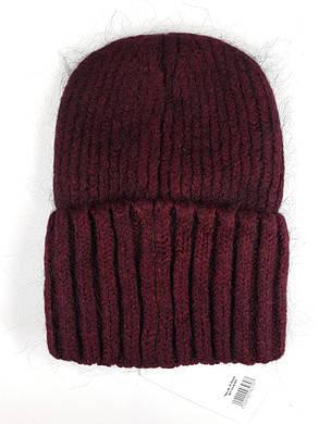 Женская шапка с отворотом Flirt Персия One Size бордовая, фото 2