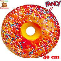 Мягкая подушка декоративная игрушка, Пончик апельсиновая глазурь с посыпкой (PP01-А), Fancy