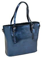 Женская сумка из натуральной кожи синего цвета классика, фото 1