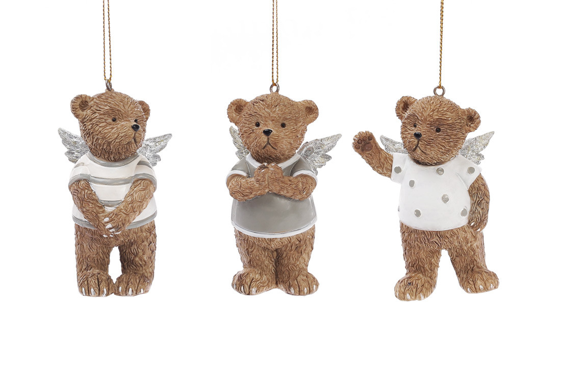Декоративная статуэтка-подвеска Мишки-ангелочки 8см, 3 вида BonaDi 707-254