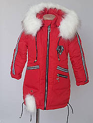 Куртка зимняя для девочки в расцветках в спортивном стиле (110-128 р)