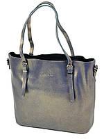 Женская сумка из натуральной кожи классика серебристая, фото 1