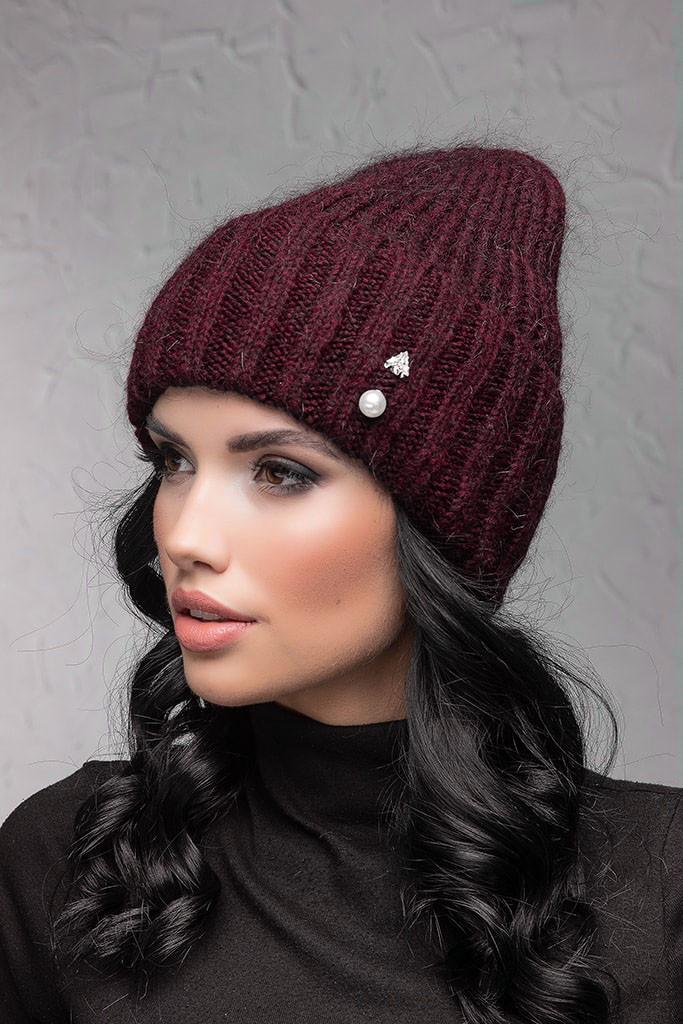 Женская шапка с отворотом Flirt Персия One Size бордовая