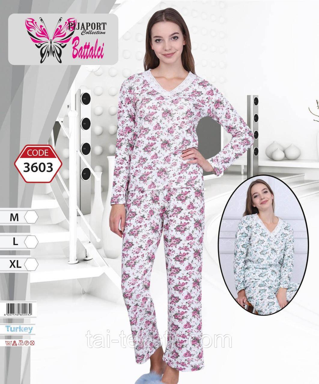 Пижама женская с начесом на байке Турция BATTALCI 3603