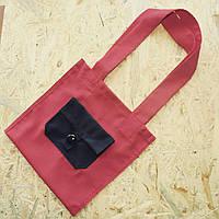 Красная эко-сумка с черным кармашком