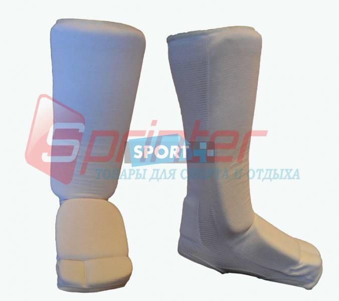 Защита ног для единоборств (от колена до пальцев).. Цвет: белый. Размер: S.(0401)