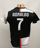 Форма детскаяв стиле Adidas Juventus Ronaldo сезон 2019-20 черно-белая