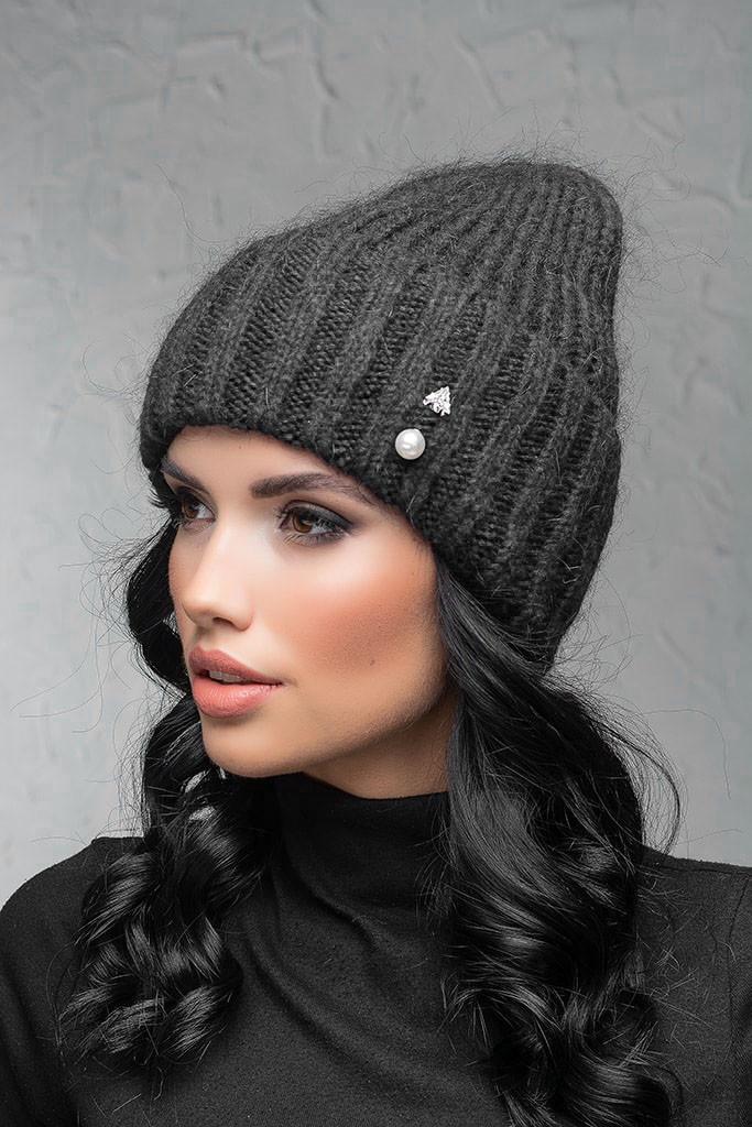 Женская шапка с отворотом Flirt Персия One Size темно-серая