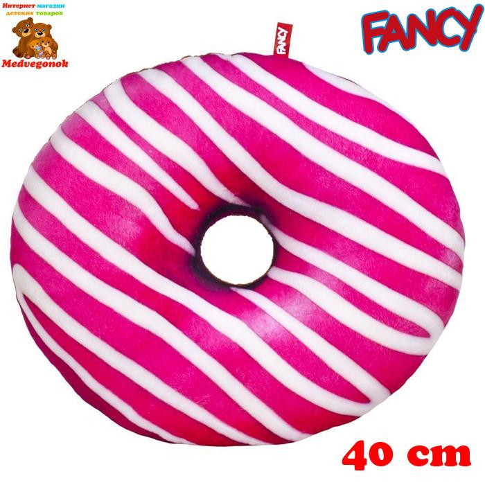 Мягкая подушка игрушка декоративная Пончик розовая глазурь (PP01-БР), Fancy
