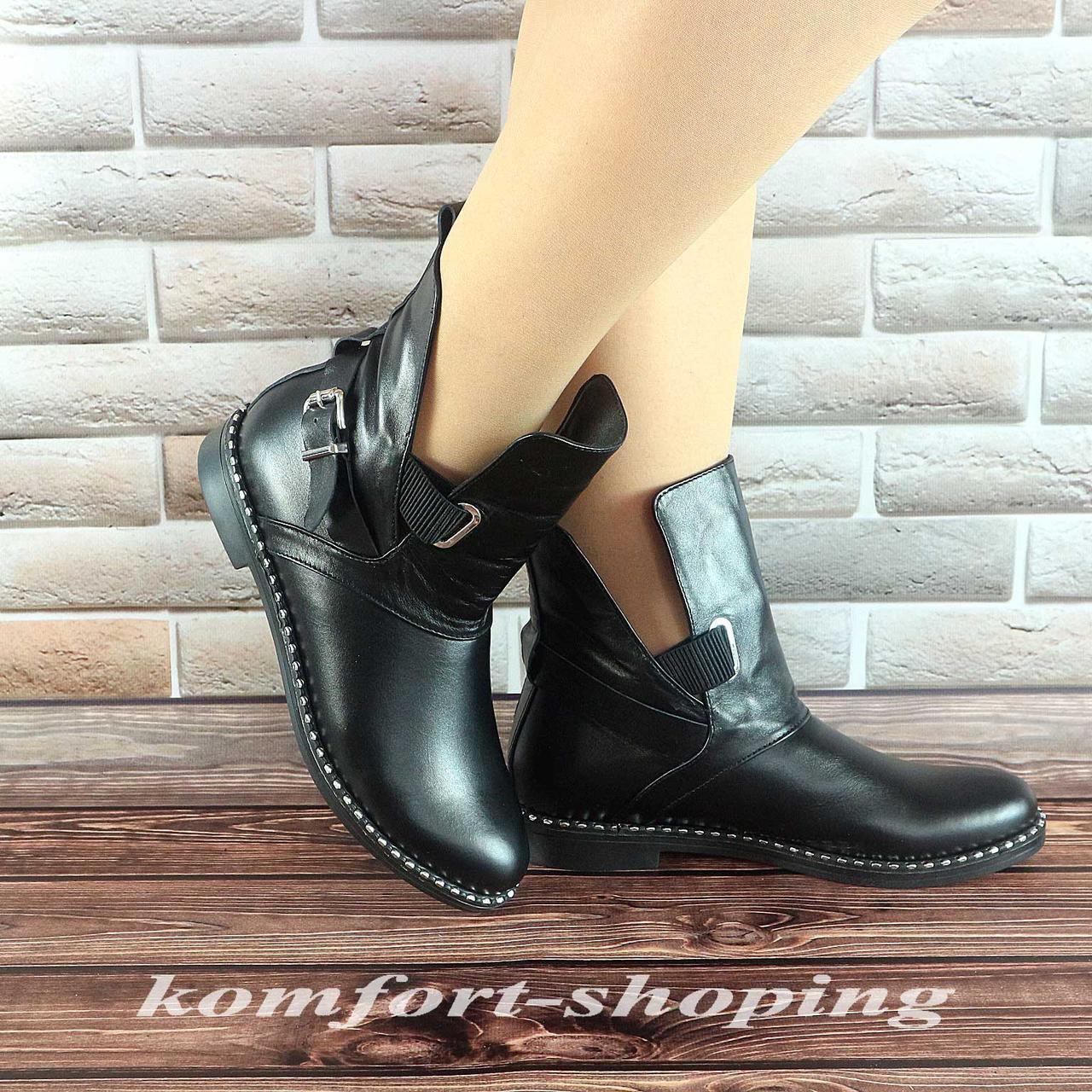 Ботинки женские черные кожаные  V 1213