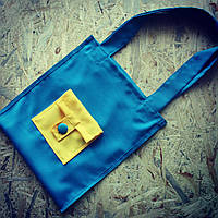 Синяя эко-сумка с желтым кармашком