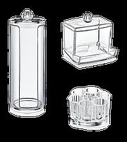 Набор из трёх органайзеров для косметики для хранения ватных дисков ,ушных палочек ,помад ,кистей и т.д
