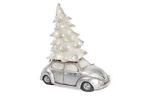 Новогодняя фигура Машина с елкой и LED-подсветкой 49см, цвет - серебро BonaDi 820-158