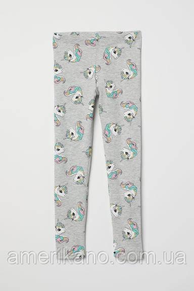 Хлопковые лосины леггинсы H&M для девочек Единорожки