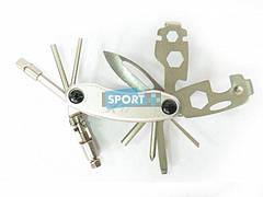 Шестигранники X17 складные, с ножом, с выжимкой цепи, 18 функций, серебр.