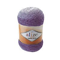 Плюшевая пряжа Пряжа Alize Softy Plus Ombre Batik 7298 (нитки для вязания Ализе Софти Плюс Омбре Батик)