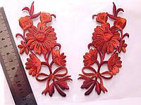 """Аплікація вишивка клейові парні """"Квіти"""", 13 см, червона, 1 пара"""