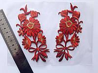 """Аплікація вишивка клейові парні """"Квіти"""", 13 см, червона з люрексом, 1 пара"""