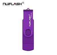 USB OTG флешка Nuiflash 32 Gb micro USB Цвет Фиолетовый ОТГ для телефона и компьютера, фото 1