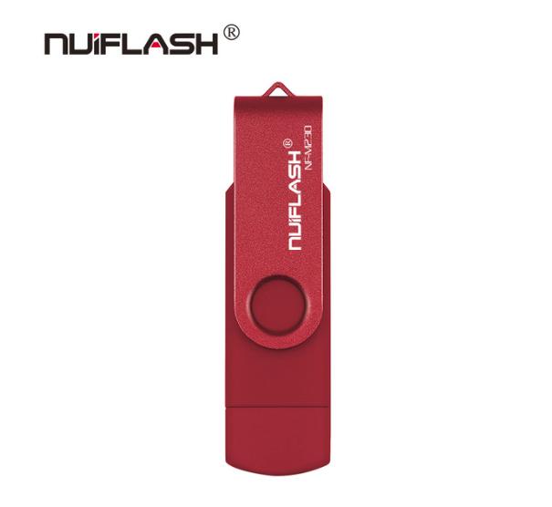 USB OTG флешка Nuiflash 32 Gb micro USB Цвет Красный ОТГ для телефона и компьютера