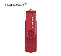 USB OTG флешка Nuiflash 32 Gb micro USB Цвет Красный ОТГ для телефона и компьютера, фото 1
