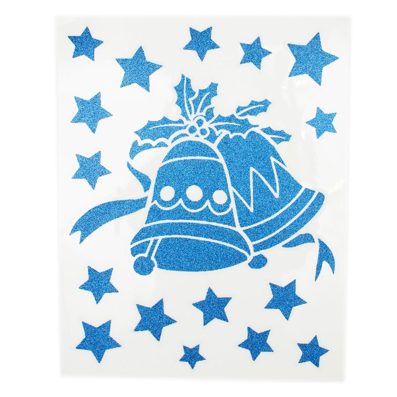 Лист с декоративными новогодними наклейками, синие колокольчики (070045-3)