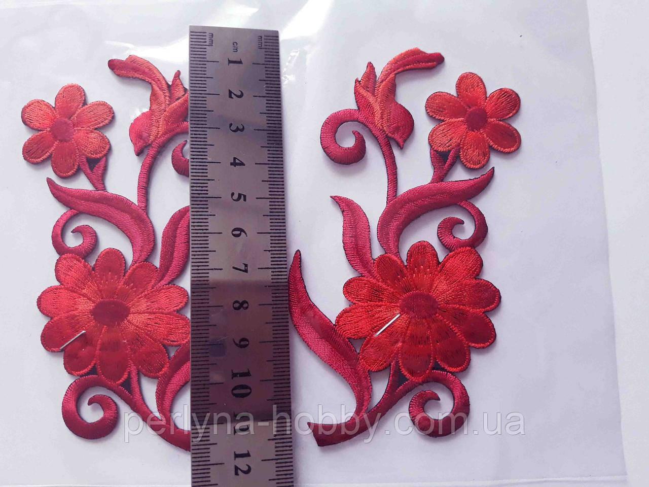 """Аплікація вишивка клейові парні """"Квіти"""", 12 см, червона, 1 пара аппликация клеевая, термоаппликации"""