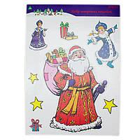 Лист с декоративными новогодними наклейками, Дед Мороз и Снегурочка (070151-2)