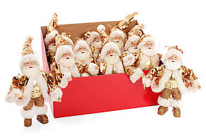 Новогодняя декоративная фигурка-подвеска Санта 17.5см в дисплей-коробке, цвет - золото BonaDi NY14-373