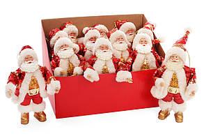 Новогодняя декоративная фигурка-подвеска Санта 17.5см в дисплей-коробке, цвет - красный с золотом BonaDi NY14-375