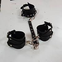 Наручники + чокер комплект, портупея на руки, портупеи, портупея наручники, женская портупея, наручники черные