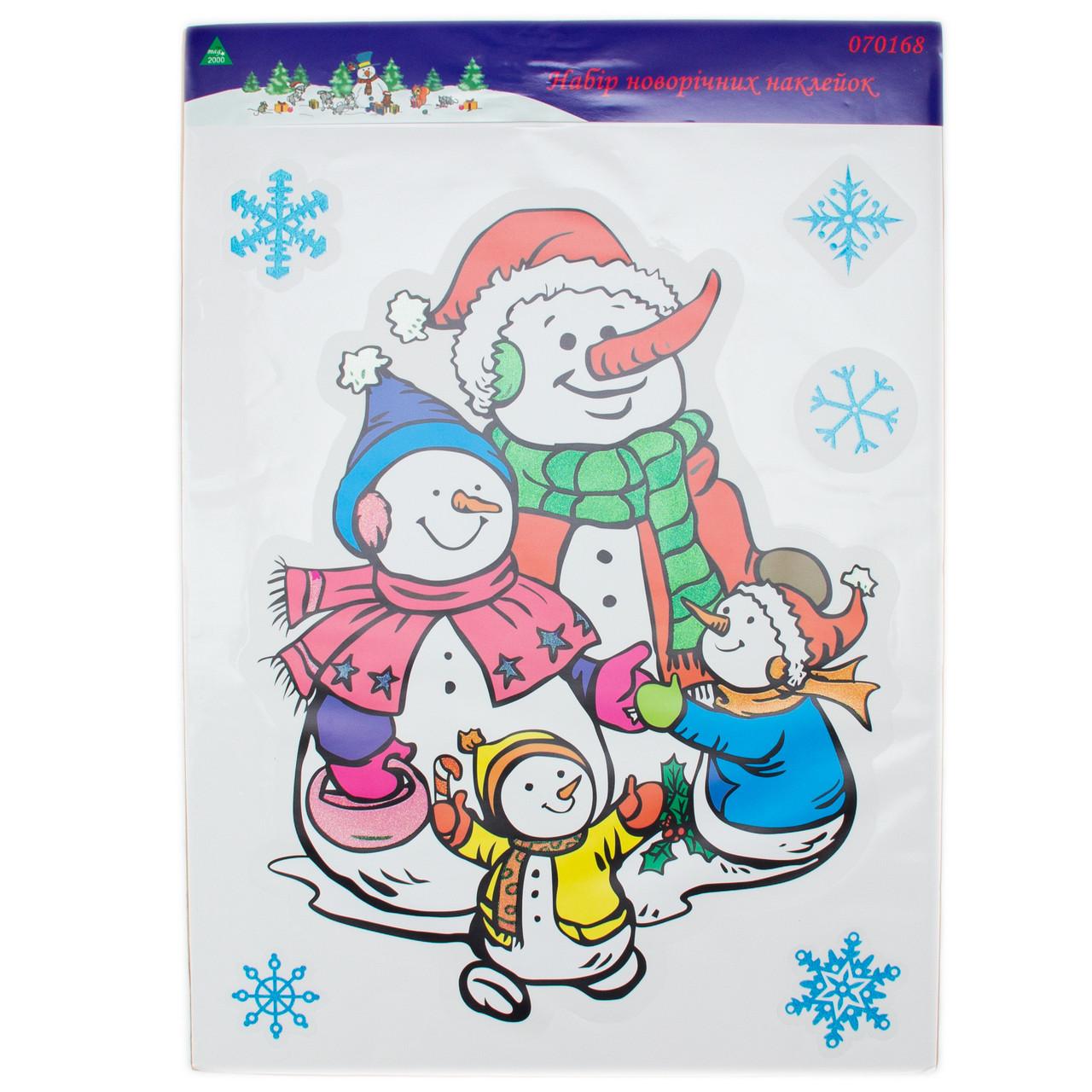 Лист с декоративными новогодними наклейками, Снеговик (070168-1)