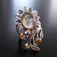 Серебряное кольцо Подсолнух с рутиловым кварцем (волосатиком) и цитрином регулируемый размер
