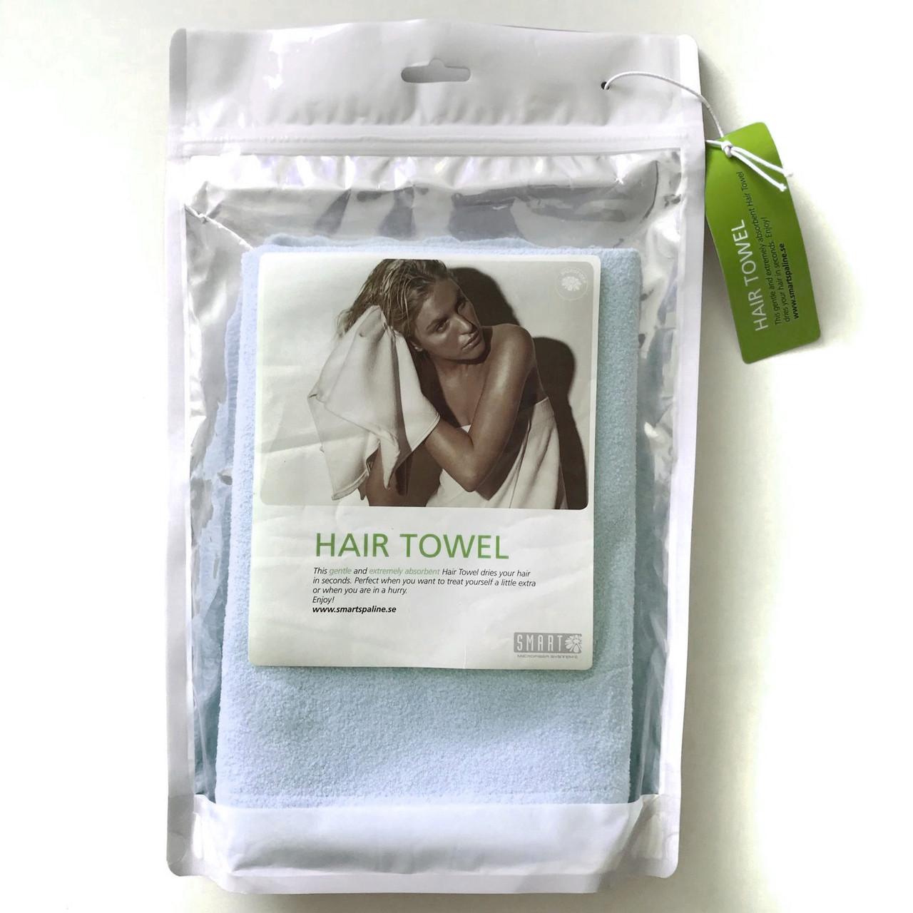 Полотенце для волос из микроволокна,45х100см, голубое (Швеция)