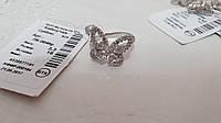 Срібна каблучка метелик з фіанітами