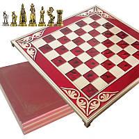 """Шахматы """"Англия"""" 45х45 Marinakis, красная доска, металлические"""