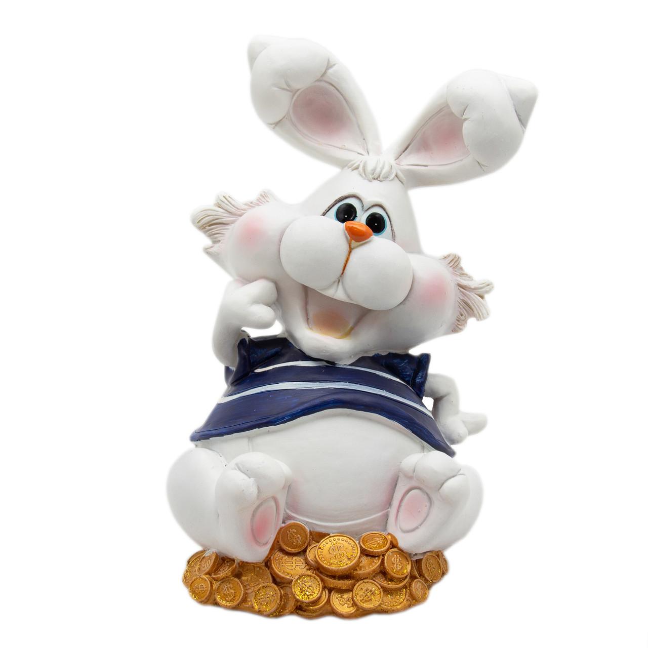 Новогодняя сувенирная фигурка Кролик-копилка поднята лапа, 16, 5 см (440375-1)