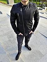 Кожаная мужская куртка с косой молнией (экокожа) черная косуха