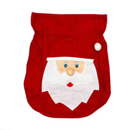 Мешок красный карнавальный с дедом морозом, из фетра, 52*31 см, (460854)