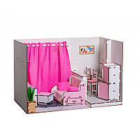 Домик для кукол Барби. Квартира-студия для Барби с мебелью, обоями, текстилем и шторками (300х340х500 мм)