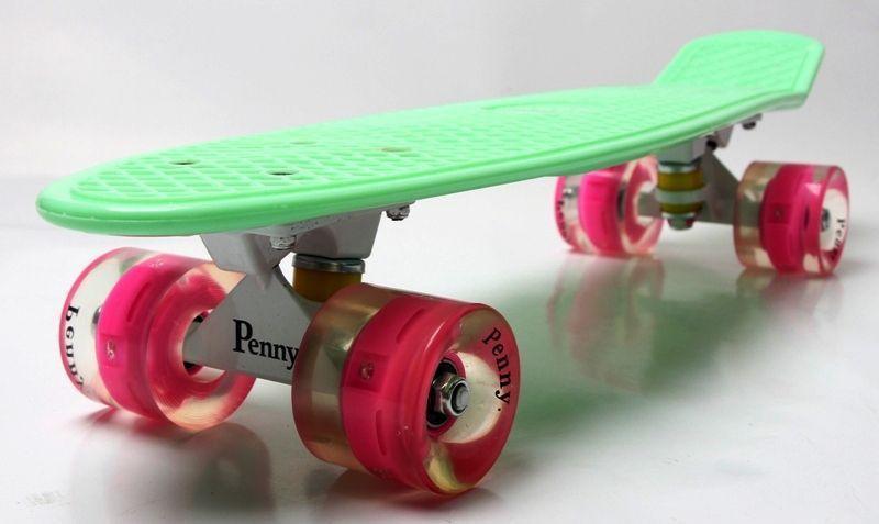 "Скейт ""Penny Board"" ""MINT"" (МЯТНЫЙ). Гравировка. Светящиеся колеса"