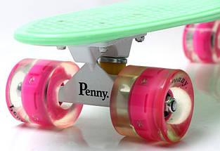 """Скейт """"Penny Board"""" """"MINT"""" (МЯТНЫЙ). Гравировка. Светящиеся колеса, фото 3"""