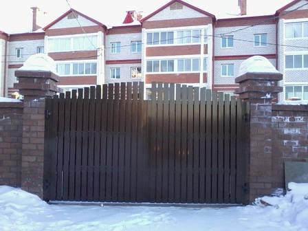 Алюминиевые распашные ворота , фото 2